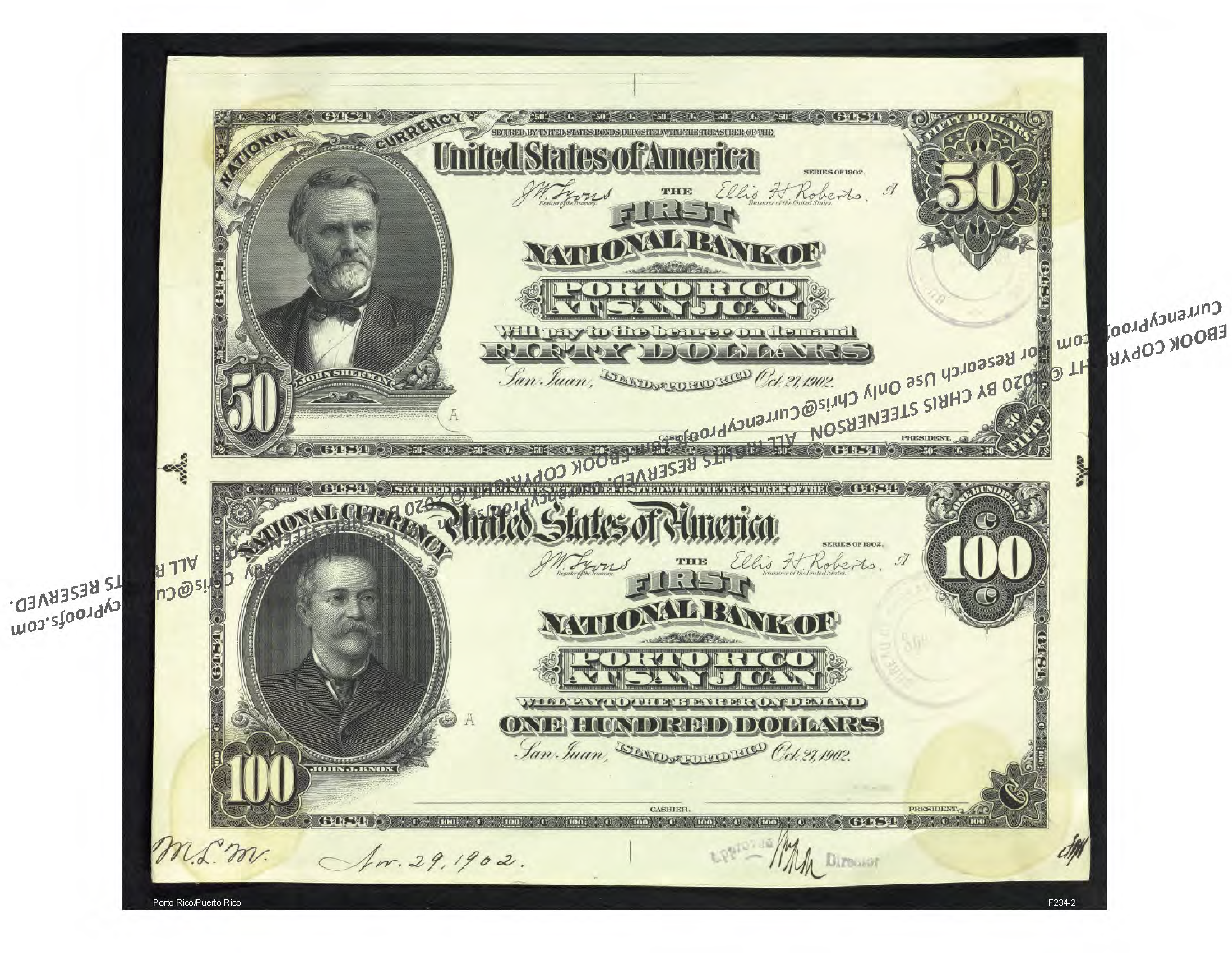 Porto Rico National Bank Note Currency Proofs